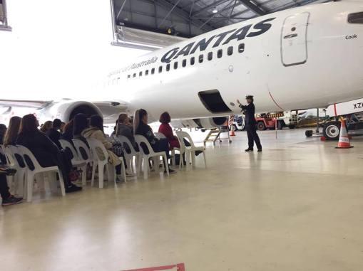 WAI Australian Chapter member FO Haidee Wong presenting at Qantas day